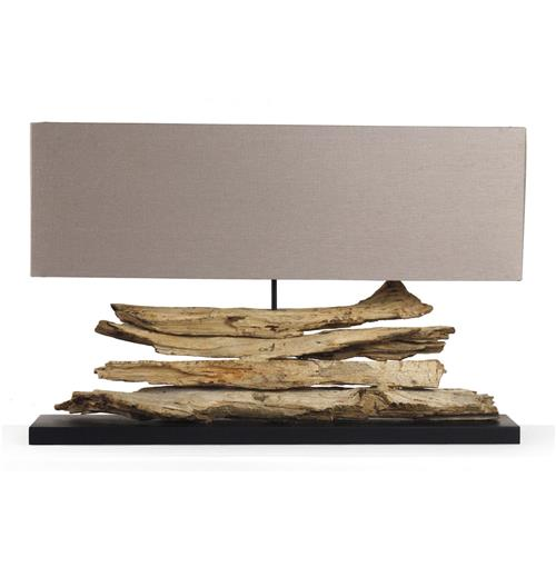 Riverine Natural Driftwood Modern Rustic Long Console Lamp | Kathy Kuo Home
