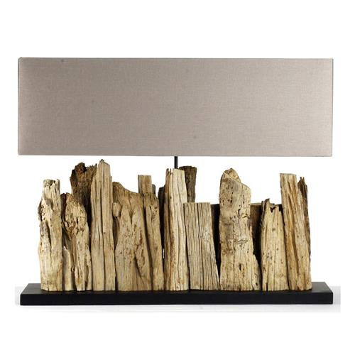 Vertico Riverine Root Modern Rustic Burlap Shade Table Lamp- Long | Kathy Kuo Home