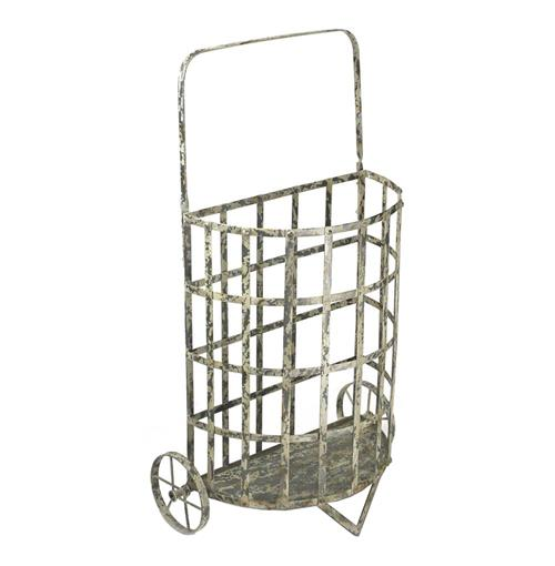 French Antique Farmhouse Cottage Style Iron Shopping Floral Cart | Kathy Kuo Home