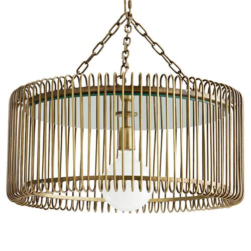 Arteriors Oren Industrial Loft Gold Antique Brass Iron Chandelier | Kathy Kuo Home