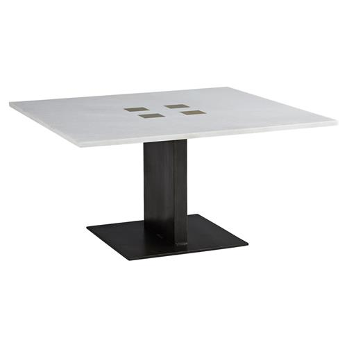 Arteriors Ohara Modern Classic White Marble Black Iron Square Coffee Table | Kathy Kuo Home