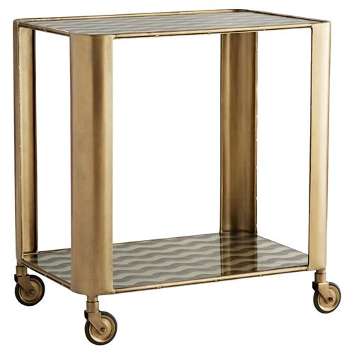 Arteriors Tinsley Hollywood Regency Gold Vintage Brass Iron Glass Bar Cart | Kathy Kuo Home