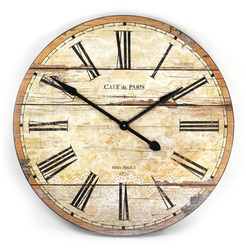 Cafe de Paris Rustic French Cottage Style Old Wood Wall Clock | Kathy Kuo Home