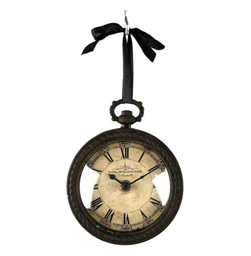 Pocket Watch Style Vintage French Rustic Ribbon Round Wall Clock | Kathy Kuo Home