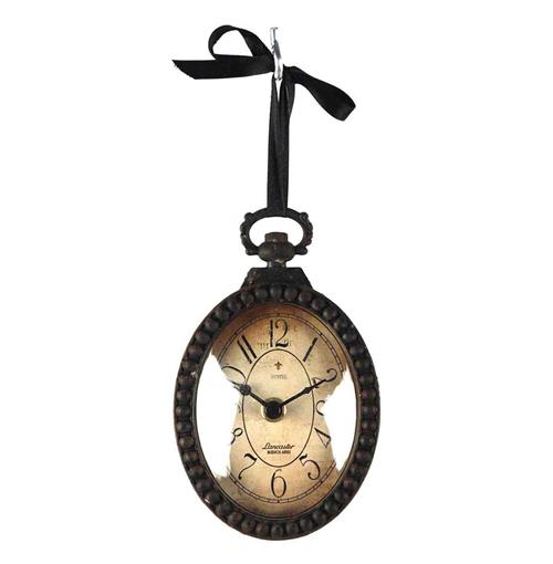 Pocket Watch Style Vintage French Rustic Ribbon Vertical Oval Wall Clock | Kathy Kuo Home