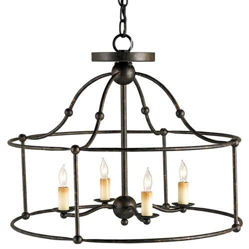 Open Frame Industrial 4 Light Ceiling Mount Chandelier | Kathy Kuo Home