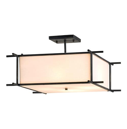 French Black 4 Light Contemporary Square Ceiling Mount Lighting | Kathy Kuo Home