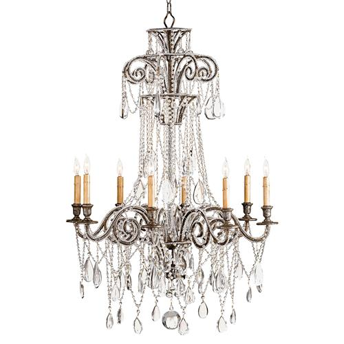 Lillian Elegant Silver Leaf Crystal Bead 8 Light Chandelier- 45 Inch | Kathy Kuo Home