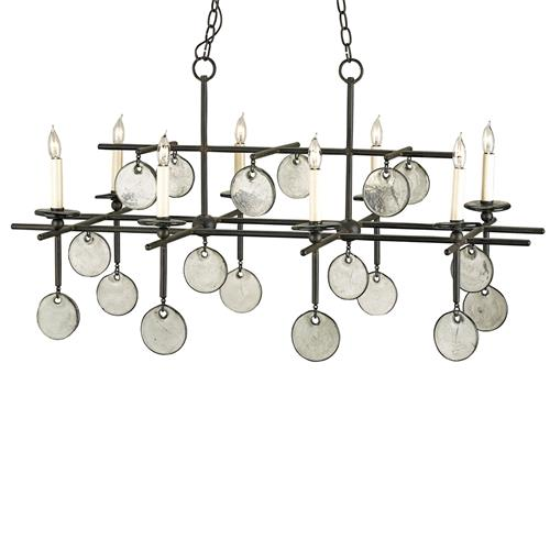Semana Iron Recycled Glass Disc 8 Light Island Chandelier | Kathy Kuo Home
