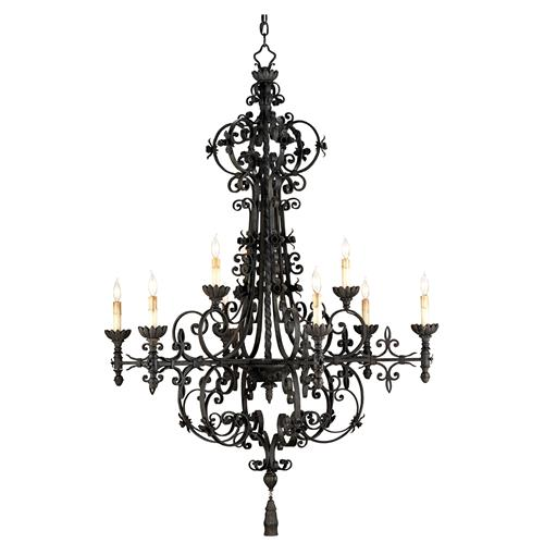 Malaga Spanish Revival Industrial Black 9 Light Chandelier | Kathy Kuo Home