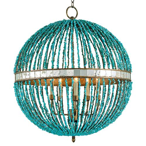 Lorenz Contemporary Turquoise Beaded 5 Light Orb Pendant Light | Kathy Kuo Home