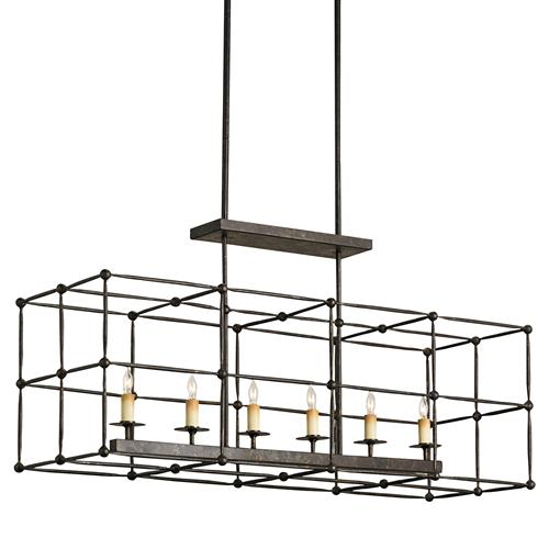 Cam Industrial Loft Iron Ball Joint Rectangular Cage Chandelier | Kathy Kuo Home