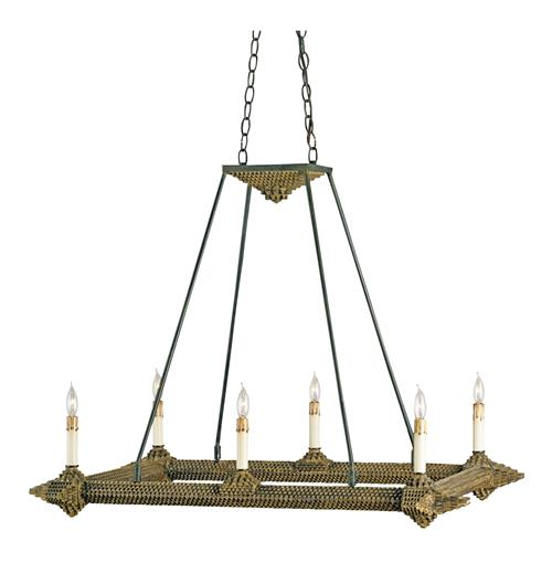 "Notched Metal ""Tramp Art"" Rectangular 6 Light Island Chandelier 