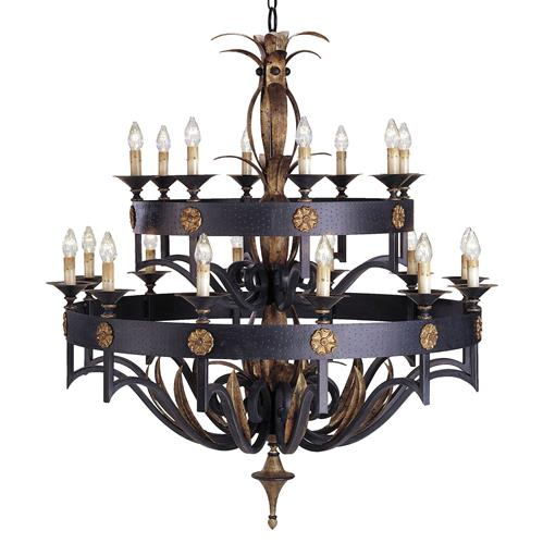 Ridley Masculine Steel Gothic 2 Tier 20 Light Chandelier | Kathy Kuo Home
