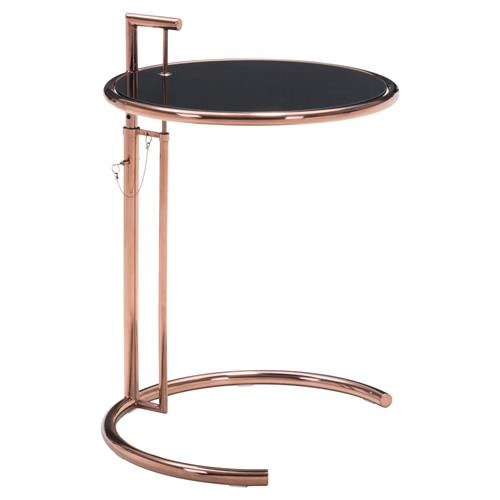 Clayton Modern Classic Rose Gold Tempered Glass Stainless Steel Side End Table | Kathy Kuo Home