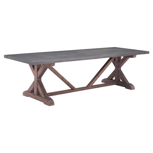 Rosh Industrial Loft Grey Distressed Fir X-Base Rectangular Dining Table | Kathy Kuo Home