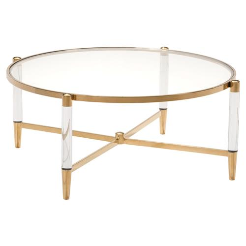 Cecilia Hollywood Regency Gold Round Glass Stainless Steel Coffee Table | Kathy Kuo Home