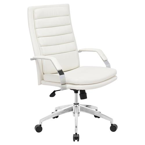 Levian Modern White Leather Silver Chromed Steel Swivel Tilt Office Chair