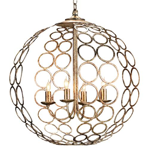Hammered Metal Circle 4 Light Round Ball Pendant Lantern | Kathy Kuo Home