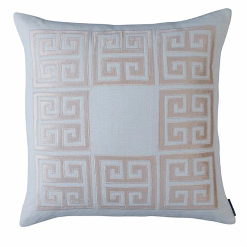 Lili Alessandra Guy Regency Basketweave Pillow - Blush Pink Square | Kathy Kuo Home