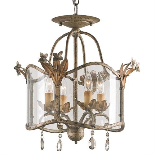 Flush Mount Glass Panels Small 4 Light Chandelier | Kathy Kuo Home