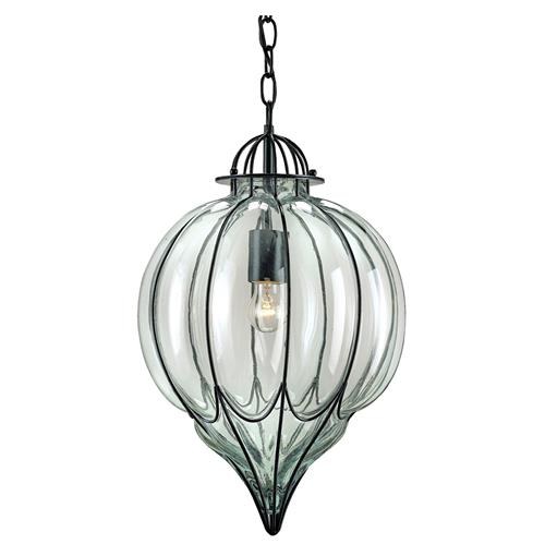 Omar Satin Black Blown Glass 1 Light Pendant | Kathy Kuo Home