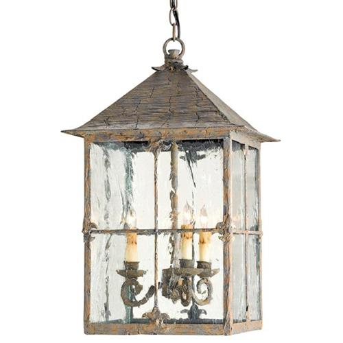 Pagoda Bird Cage Seeded Glass 3 Light Lantern Lamp | Kathy Kuo Home