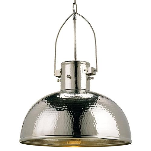 Gurnsey Industrial Hammered Nickel Dome 1 Light Pendant | Kathy Kuo Home