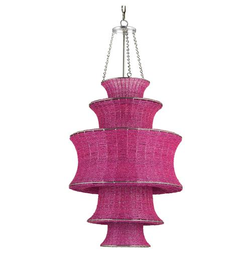 Fuchsia Magenta Tiered Beaded Glass Modern Pendant | Kathy Kuo Home