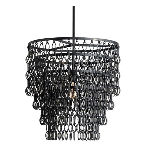 Kathy Kuo Spence Industrial Modern Wire Frame Links 3 Tier Pendant