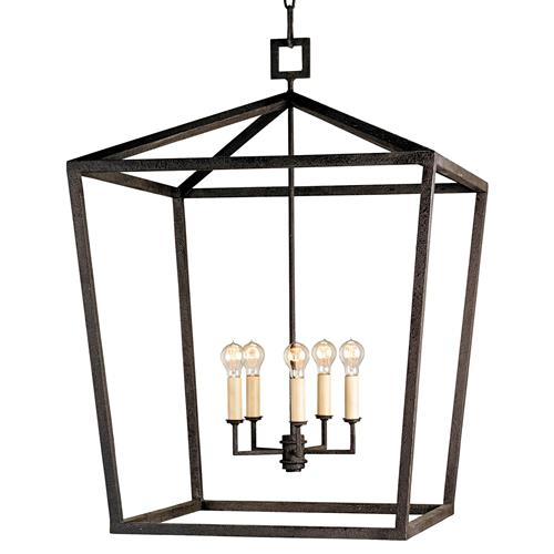 Darden 4 Light Industrial Chic Open Lantern Pendant - 26 Inch | Kathy Kuo Home