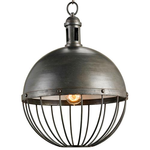 Viktor Industrial Chic Round Orb 1 Light Pendant | Kathy Kuo Home