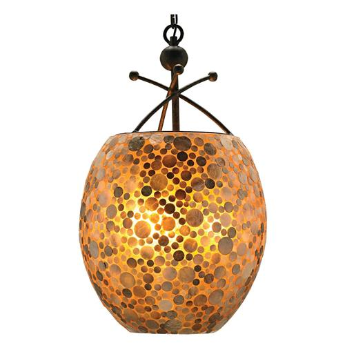 Lucia Natural Capiz Shell Amber glow 3 Light Pendant | Kathy Kuo Home