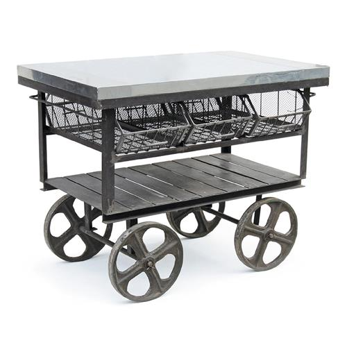Industrial Loft Console Merchandise Island Bar Table | Kathy Kuo Home