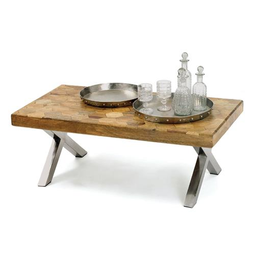 Industrial Vintage Patchwork Parquet Wood Top Coffee Table | Kathy Kuo Home