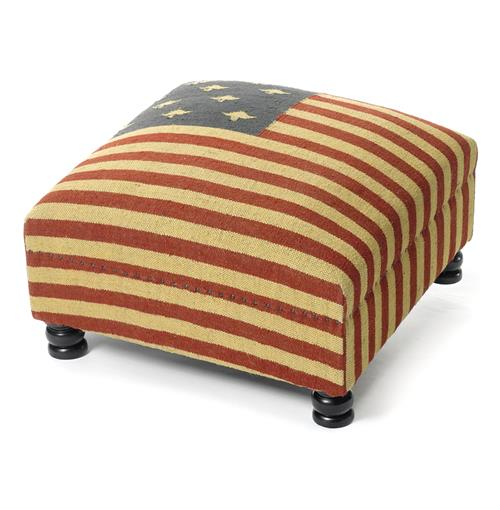 Patriotic Rustic Kilim American Flag Coffee Table Ottoman | Kathy Kuo Home