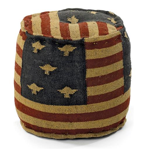 Patriotic Rustic Kilim American Flag Round Ottoman | Kathy Kuo Home