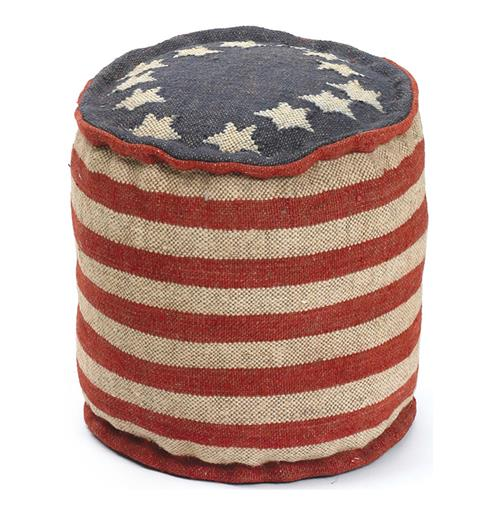 Betsy Ross Recycled Kilim American Flag Round Pouf Ottoman | Kathy Kuo Home