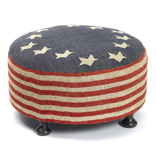 Betsy Ross Recycled Kilim American Flag Round Cocktail Ottoman | Kathy Kuo Home