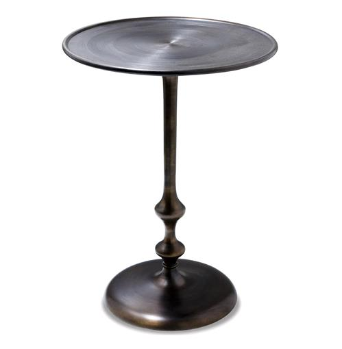 Interlude Abydos Modern Rustic Turned Metal Side Table | Kathy Kuo Home