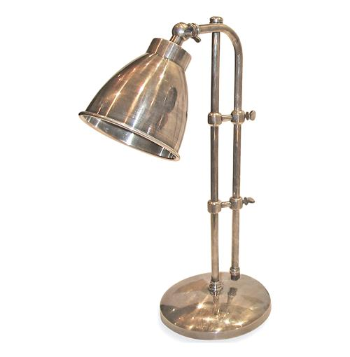 Industrial Steel Antique Nickel Pharmacy Style Desk Lamp | Kathy Kuo Home