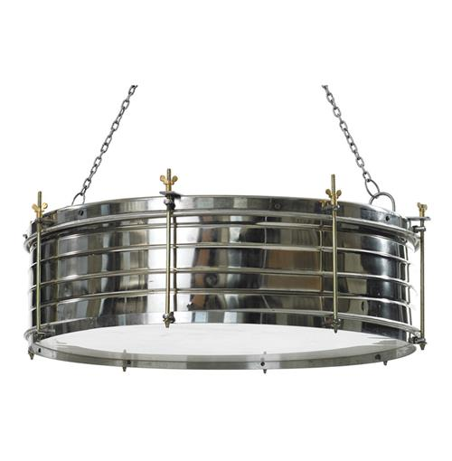 Boston Industrial Steel Adjustable Height Drum Pendant Lamp | Kathy Kuo Home