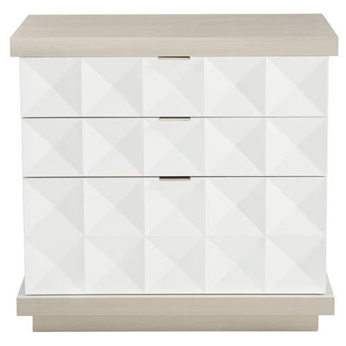Lucille Modern Classic White Grey Wood Fancy Face Nightstand | Kathy Kuo Home