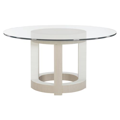 Lucille Modern Classic White Grey Wood Glass Round Dining Table - 54"
