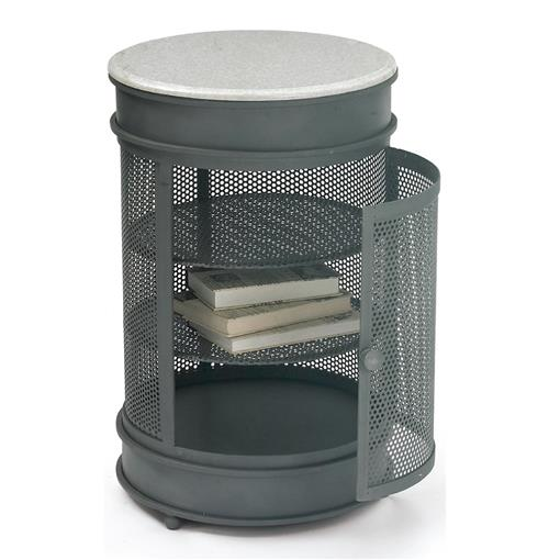 Nantucket Vintage Steel Mesh Marble Round Storage End Table | Kathy Kuo Home