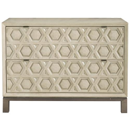 Sarabeth Modern French Geometric Antique White Wood Stainless Steel Bachelor Chest | Kathy Kuo Home