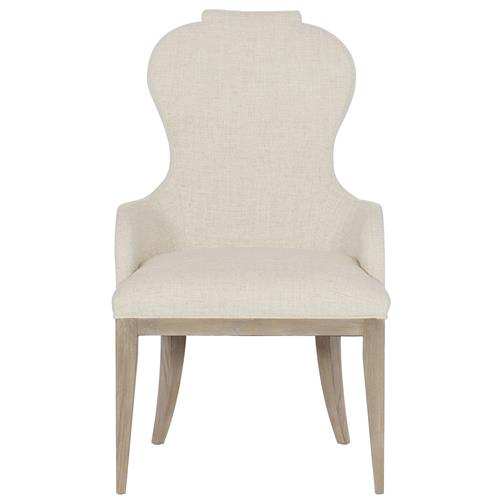 Sarabeth Modern French Beige Upholstered Sandstone Brown Wood Rounded Back Dining Arm Chair Kathy Kuo Home