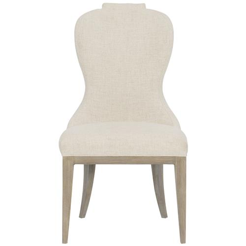 Sarabeth Modern French Beige Upholstered Sandstone Brown Wood Rounded Back Dining Side Chair | Kathy Kuo Home