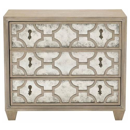 Sarabeth Modern French Patterned Cast Grille Overlay Antiqued Mirror Wood Nightstand | Kathy Kuo Home