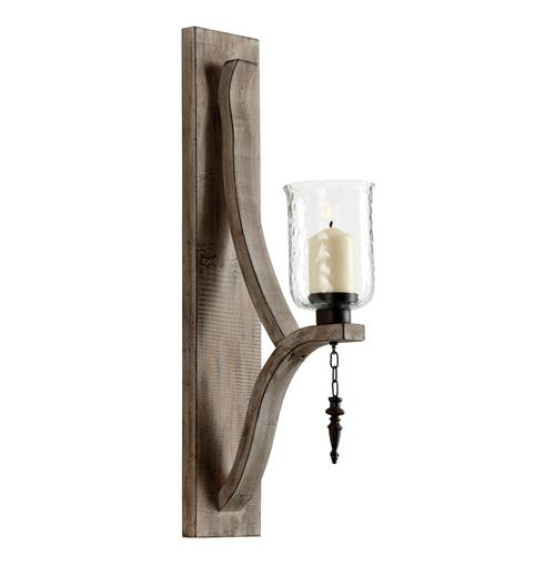 Giorno Country Rustic Chunky Wood Candle Sconce | Kathy Kuo Home